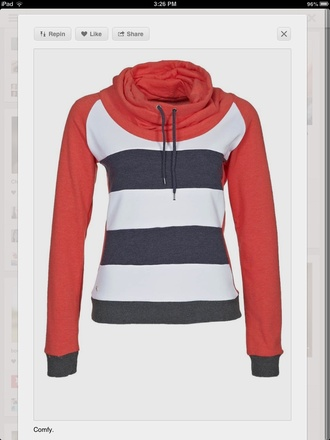 sweater clothes sporty blue white red casual warm cozy fall outfits trendy winter outfits jumper stripes back to school turtleneck long sleeves outfit