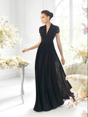 Buy Fascinating Black A-line V-neck Short Sleeves Floor Length Prom Dress under 200-SinoAnt.com
