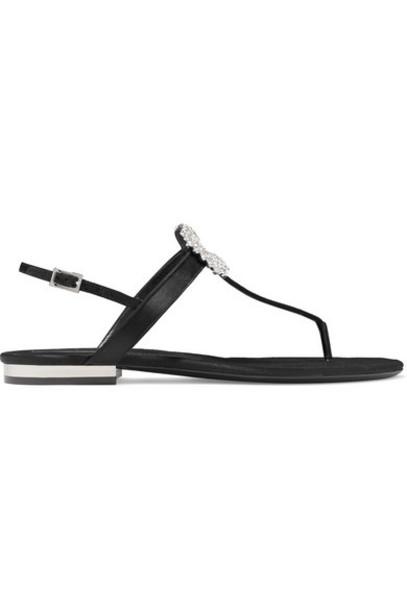 Roger Vivier - Mini Diadem Crystal-embellished Satin Slingback Sandals - Black