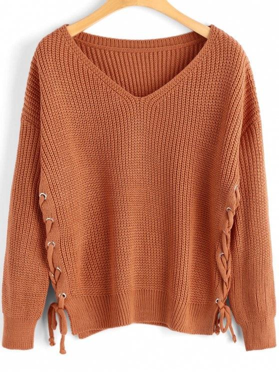 Side Lace-up V Neck Sweater