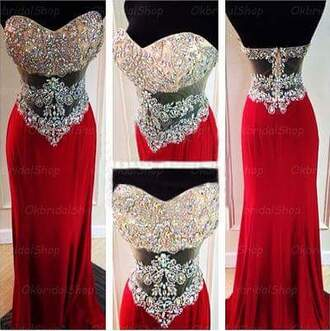 dress red bling sparkle