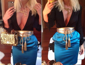 skirt pencil skirt gucci celebrity blue skirt evening outfits sexy outfit shirt belt black black shirt golden golden belt sexy shirt