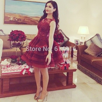Aliexpress.com : Buy Cute Sexy Designer O neck With Lace Appliques Tiered Ball Gown Mini Short Burgundy Organza Prom Dresses 2014 Sleeveless from Reliable design chapel suppliers on Suzhou Babyonlinedress Co.,Ltd