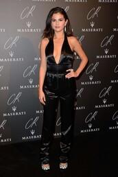 jumpsuit,black,selena gomez,fashion week 2014