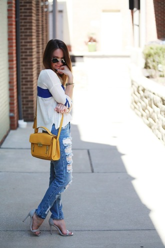 fashionably kay blogger yellow bag satchel bag ripped jeans sandals