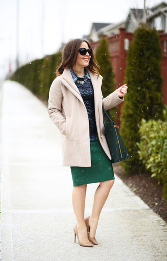 dress corilynn blogger shirt top coat skirt bag jewels shoes sunglasses sequin shirt beige coat midi skirt green skirt green bag black sunglasses thanksgiving outfit