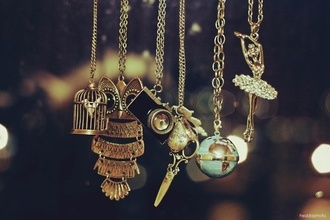 jewels necklace bird cage owl camera necklace scissors globe ballerina cute gold