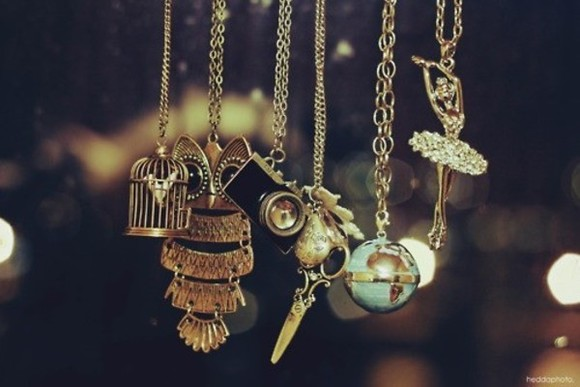 ballerina jewels cute jewelry necklace bird cage owl camera necklace scissors globe gold