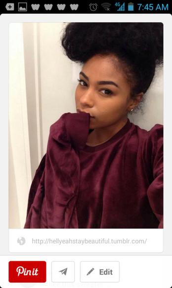sweater burgundy velvet