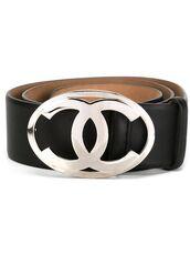 belt,logo belt,chanel,black belt,leather belt,leather,black,silver