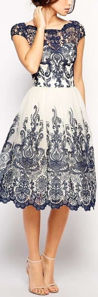 dress white and navy embellished dress