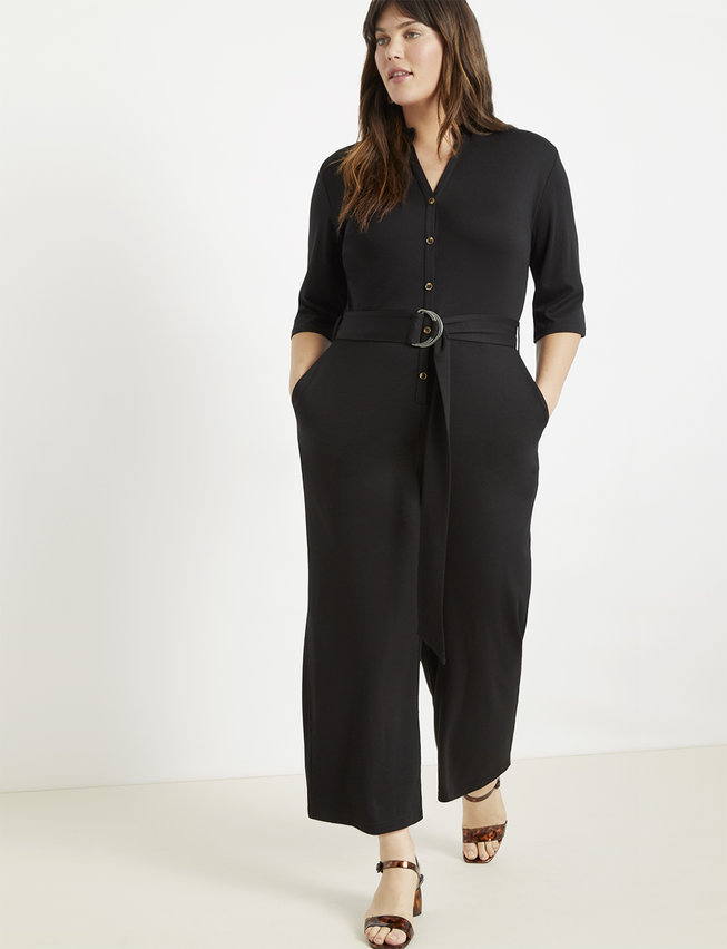 Button Front Cropped Jumpsuit | Women's Plus Size Dresses | ELOQUII