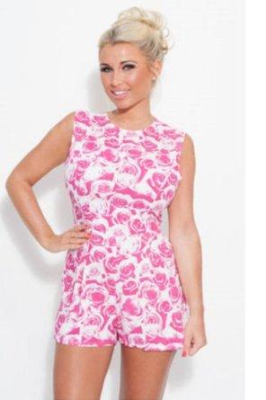 Womens Ladies Billie Faiers Celeb Short Sleeve Floral Print Playsuit