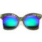 Auri oversized side cut mirror sunglasses in green mirror at flyjane