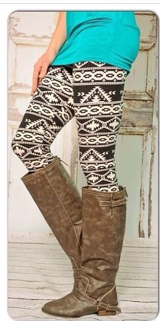 Aztec Tribal Camo Floral Print High Waist Soft Knitted Leggings Tights Pants | eBay