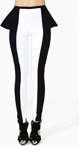 Nasty Gal Trance Peplum Pant in White (BLACK/WHITE) | Lyst