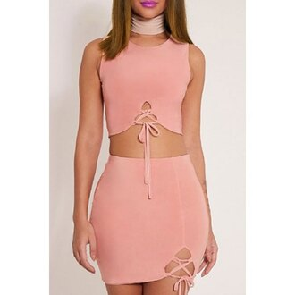 dress rose wholesale pink dress lace up two piece dress set bodycon dress summer cute dress girly girl girly wishlist pink two-piece set skirt bodycon bodycon skirt mini skirt matching set