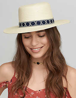 AEO Trimmed Fedora Hat , Natural