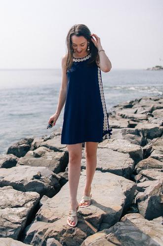 thecollegeprepster blogger dress sunglasses jewels mini dress blue dress sandals summer dress summer outfits