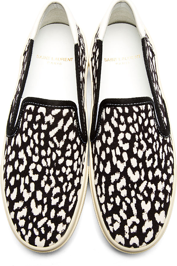 Saint Laurent - Black & White Babycat Print Slip-On Shoes