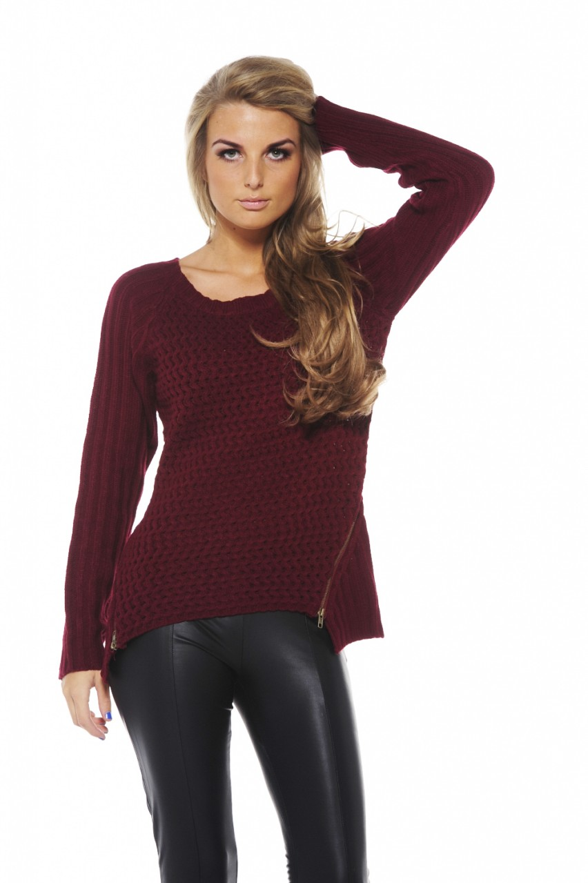 Sweater - Burgundy Long Sleeve Knit Sweater | UsTrendy