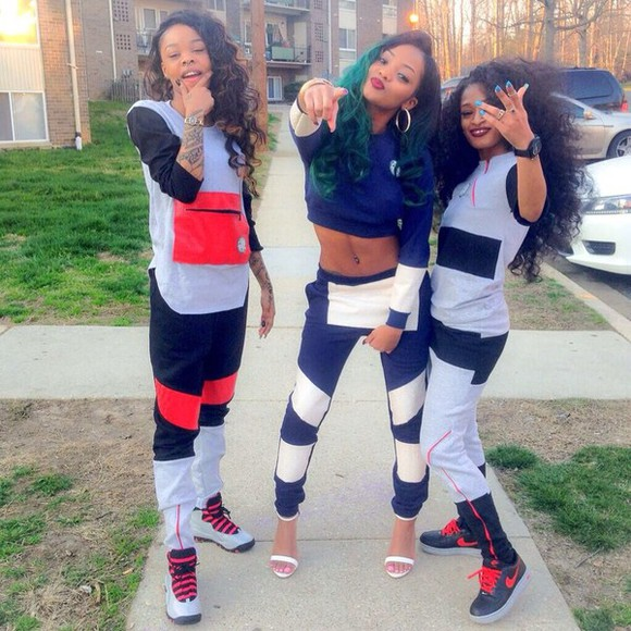 blue shoes black jacket dope sweats swag girls friends grey sweatsuit hoodie red pants
