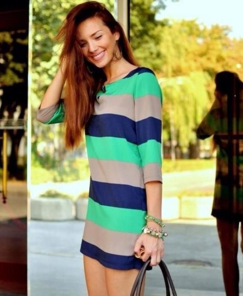 dress blue dress green dress summer dress striped dress summer stripes three quarter sleeve short party dresses green. and blue blue and green