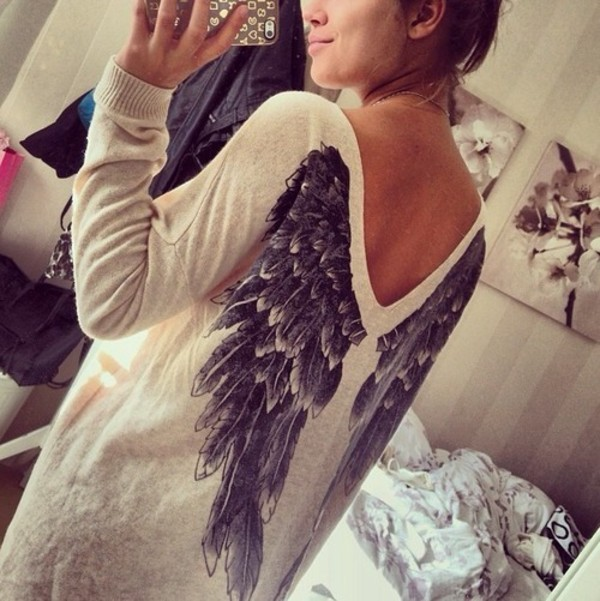 shirt sweater wings jewels sweatshirt black white hipster women angel angel wings oversized sweater me with fashion blouse cute stylish boho print angelwings oversized oversized sweater cream jumper cosy sweaters clothes soft light weight sweater neck large angel wings on back sixkisses women spring lady casual