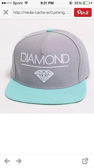 hat diamond supply co. blue hat grey hat diamonds snapback
