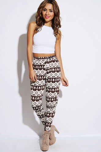 pants harem aztec print pants spring pants tribal pattern shoes heels