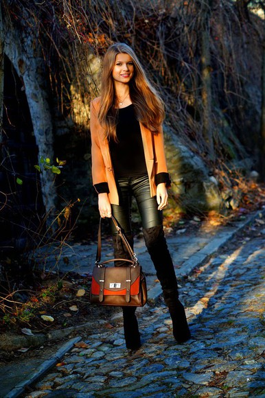 blazer blogger only my fashion style satchel bag leather pants thigh high boots