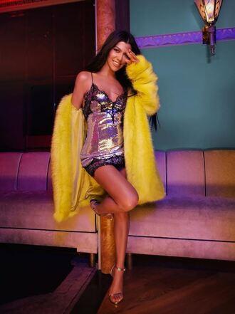 dress coat yellow yellow coat kourtney kardashian instagram mini dress sandals bodycon dress