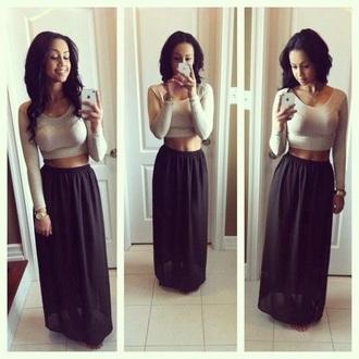 skirt black maxi skirt shirt top