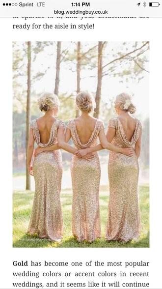 dress champagne gold bridesmaid long dress sequin dress