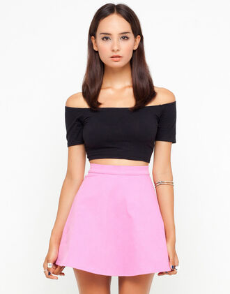 top pink pink skirt black top crop tops skater skirt high waisted skirt off the shoulder top skirt