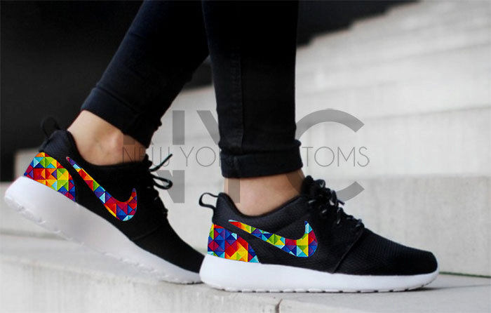 Nike Roshe Run Black Geometric Prism Custom Men & Womens