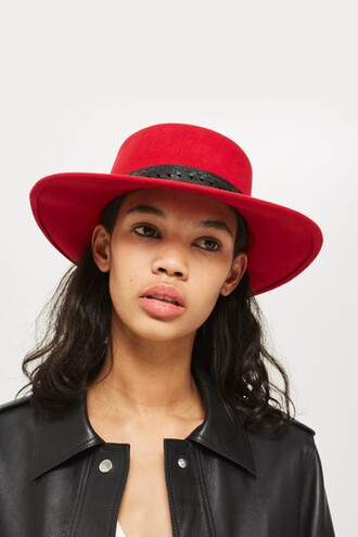 hat felt hat red