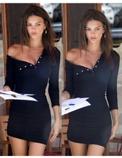 dress,emily ratajkowski,black dress,mini dress,buttons