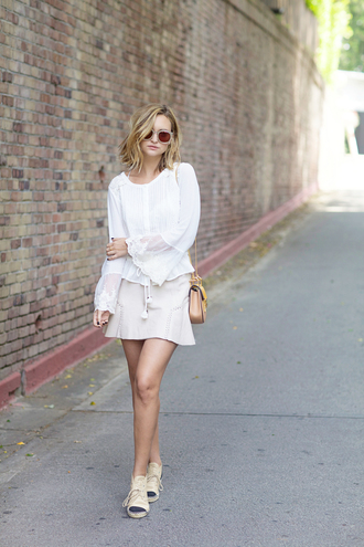 late afternoon blogger sunglasses white blouse spring skirt spring outfits
