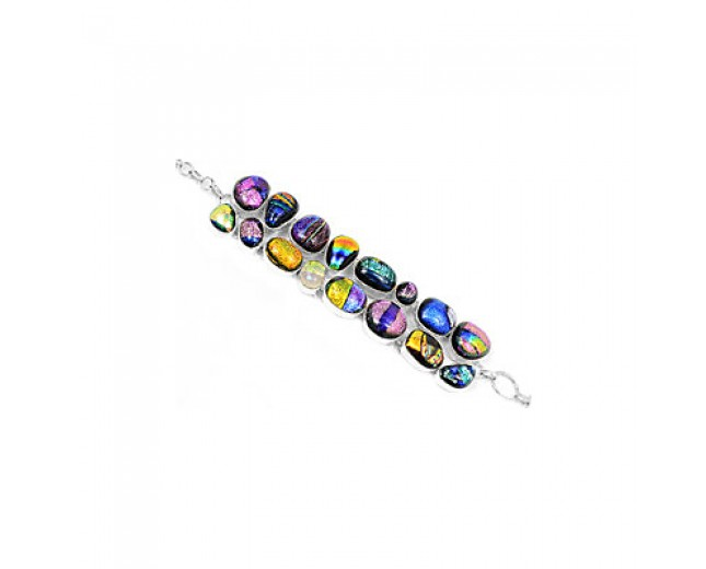 Awesome 925 sterling silver Dichroic Glass Gemstone Cluster Bracelet