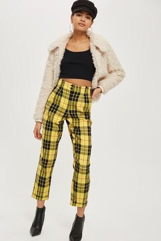yellow tartan pants