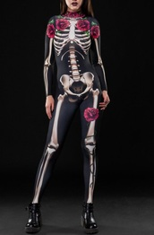 jumpsuit,print,girly,black,halloween,halloween costume,one piece,black jumpsuit,rose,roses,skeleton
