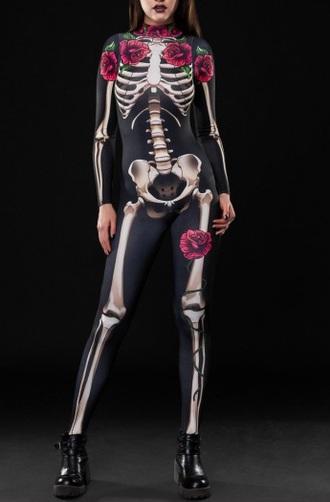 jumpsuit print girly black halloween halloween costume one piece black jumpsuit rose roses skeleton