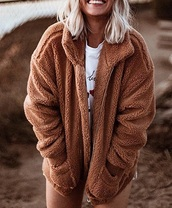 jacket,girly,brown,comfy,zip,teddy,teddy coat,teddy jacket,fur,fur jacket,sherpa,cute,oversized