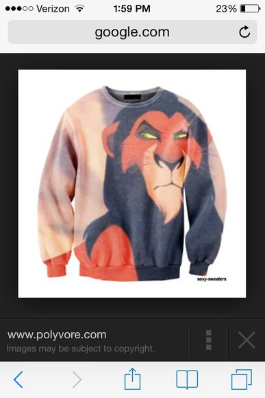 movie sweater scar lion disney lion king cartoon crewneck