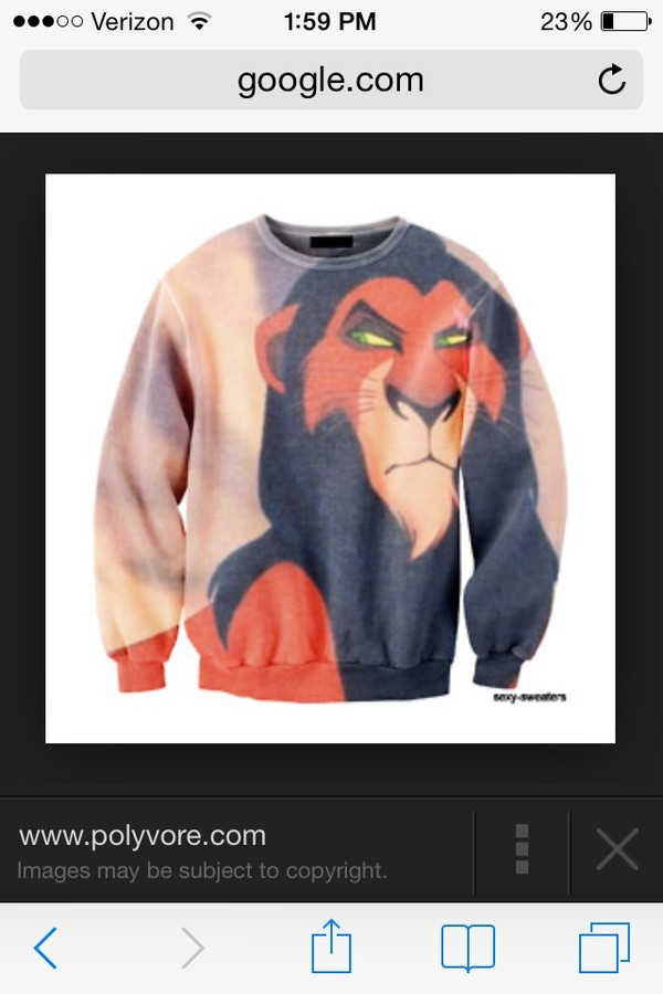 sweater scar lion disney lion king cartoon movie sweatshirt crewneck
