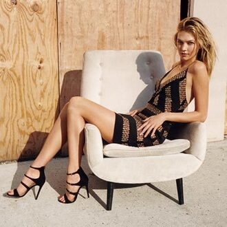 dress karlie kloss model mini dress summer dress summer outfits black heels v neck dress strappy heels