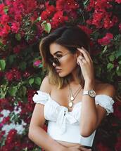 top,crop tops,white top,off the shoulder,off the shoulder top,watch,accessories,Accessory,necklace