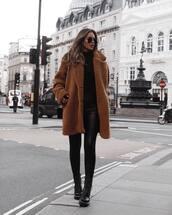 coat,teddy bear coat,black blouse,pants,skinny pants,boots,aviator sunglasses,shoulder bag