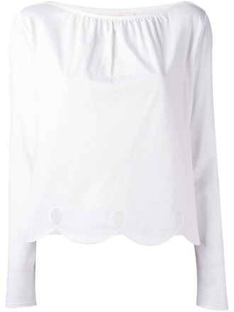blouse scalloped white top